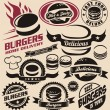 Burger icons, labels, signs, symbols and design elements - Stock Vector