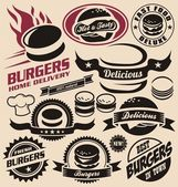 Burger icons, labels, signs, symbols and design elements — Stockvektor