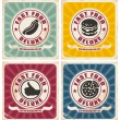 Vintage fast food posters collection — Stock Vector