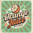 Orange juice retro poster — Stock Vector
