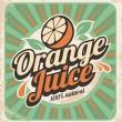 Orange juice retro poster — Stock Vector