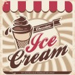 Retro ice cream poster — Vector de stock