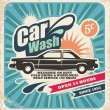 Retro car wash poster - Stockvectorbeeld