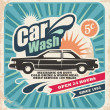 Retro car wash poster - Stok Vektr