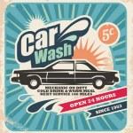 Retro car wash poster — Stock Vector