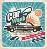 Retro car wash poster — Stock Vector