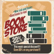 Retro bookstore poster design — Stock Vector