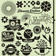 Set of flower symbols, icons and signs - Stock Vector