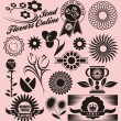 Flower collection of decorative vectors — Stock Vector