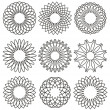 Set of rosettes, ornaments and decorative lines — Stockvectorbeeld