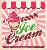 Retro dondurma afişi — Stok Vektör
