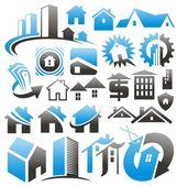 Set di icone di casa, simboli e loghi — Vettoriale Stock