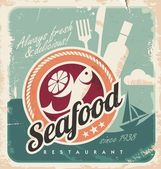 Vintage poster for seafood restaurant — Stock Vector