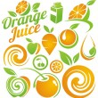 Set of fruit and juice icons, symbols, labels and design elements - Vettoriali Stock