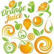 Set of fruit and juice icons, symbols, labels and design elements — Imagen vectorial