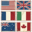 Vector illustration of retro tin signs with state flags — Vector de stock