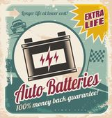 Auto batteries vintage poster design — Stock Vector