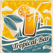 Retro poster template for tropical bar — Stock Vector