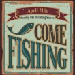 Vintage fishing metal sign - Stock Vector