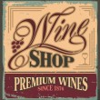 Vintage metal sign for wine shop - Stock Vector