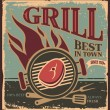 Retro BBQ poster template with fresh beef steak - Stok Vektör