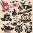 Collection of vector grill signs, symbols, labels and icons. — Vettoriale Stock