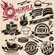 Sammlung von Vektor-Grill-Zeichen, Symbole, Etiketten und icons — Stockvektor