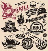 Verzameling van vector grill tekens, symbolen, labels en pictogrammen. — Stockvector