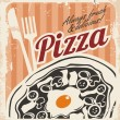 Vintage pizza poster on old paper texture — Stock Vector