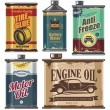 Vintage collection of car and transportation related products — Stock Vector