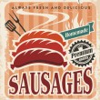 Stock Vector: Vintage sausages vector poster