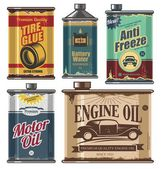 Vintage collection of car and transportation related products — Stockvektor