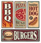 Retro fast food tin signs — Stock Vector