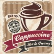 Vector cappuccino poster on old paper texture — Stock Vector