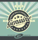 Vintage cartel promocional de producto de calidad premium — Vector de stock