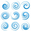 Set of water swirls and abstract waves — Stock Vector