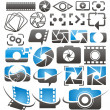 Stock Vector: Set of vector photography and video icons, symbols, logos and signs