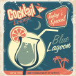 Stock Vector: Promotional retro poster design for one of most popular cocktails Blue Lagoon
