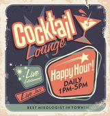 Retro poster design for cocktail lounge — Stock Vector