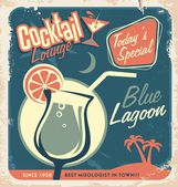 Promotional retro poster design for one of the most popular cocktails Blue Lagoon — Stock Vector