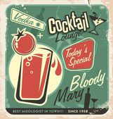 Promotional retro poster design for one of the most popular cocktails Bloody Mary — Stock Vector