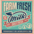 Retro farm fresh milk poster design template — Stok Vektör