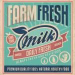 Retro Bauernhof Frischmilch-Poster-Design-Vorlage — Stockvektor