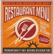 Retro poster template for fast food restaurant, restaurant menu cover design — Stock Vector