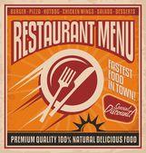 Retro poster template for fast food restaurant, restaurant menu cover design — Stock Vector