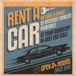 Stock Vector: Old fashioned comics style rent car poster design