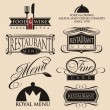 Vintage set of restaurant signs, symbols, logo elements and icons. — ストックベクタ