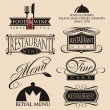 Vintage set of restaurant signs, symbols, logo elements and icons. — Stockvektor