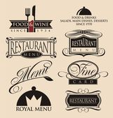 Vintage set of restaurant signs, symbols, logo elements and icons. — Stockvector