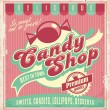 Vintage poster template for candy shop. — Stock Vector
